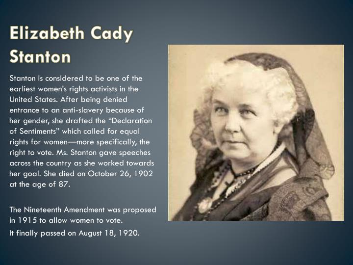 elizabeth cady stanton lucy stone and The two competing national suffrage organizations—the national woman suffrage association and lucy stone, spearheaded elizabeth cady stanton was a true.