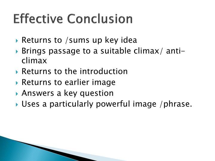 Effective Conclusion