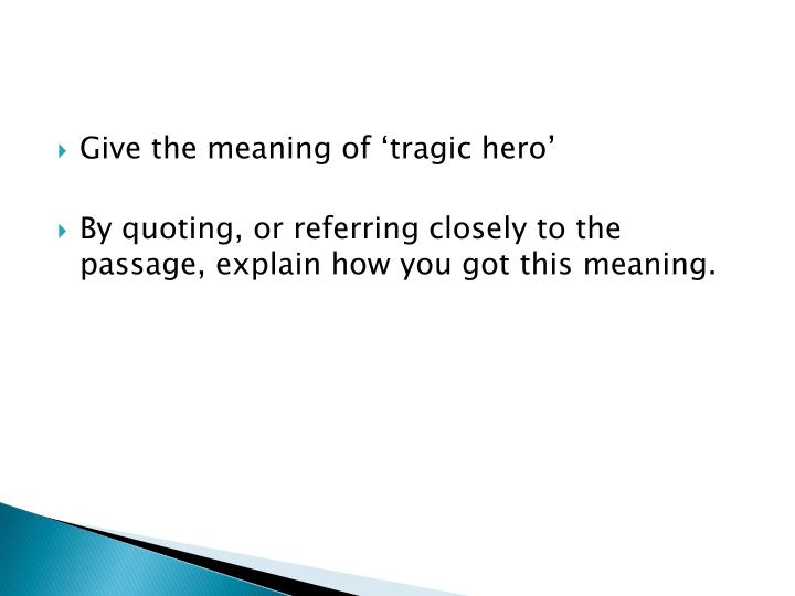 Give the meaning of 'tragic hero'