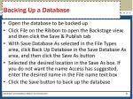 backing up a database