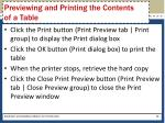previewing and printing the contents of a table1
