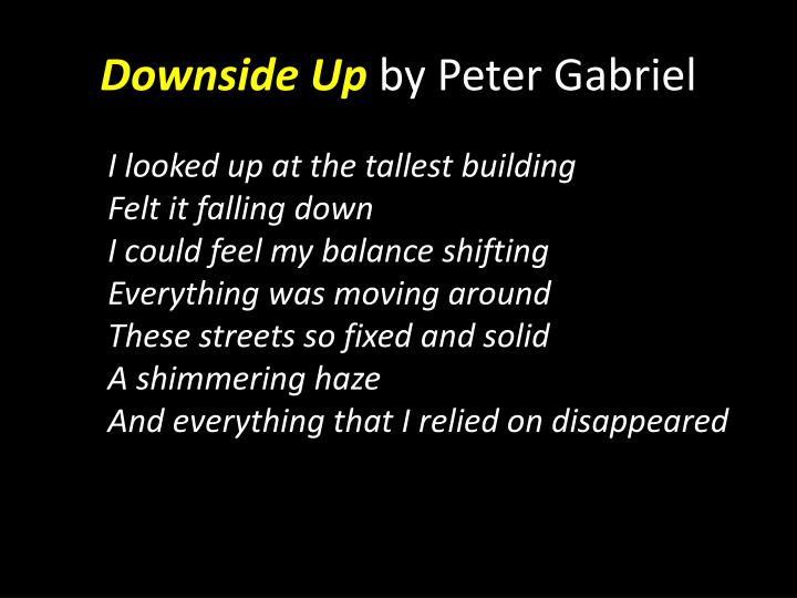 Downside up by peter gabriel