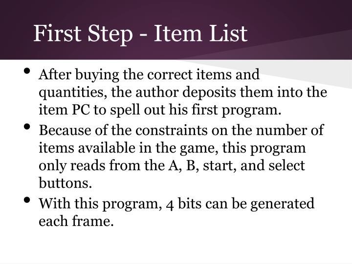 First Step - Item List