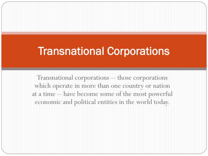 Transnational Corporations Examples