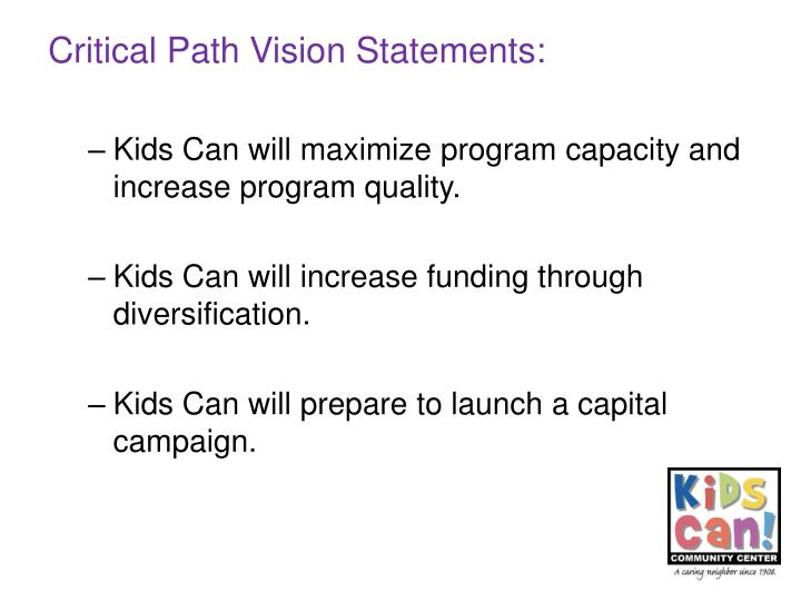 Critical Path Vision Statements: