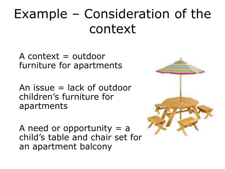 Example – Consideration of the context