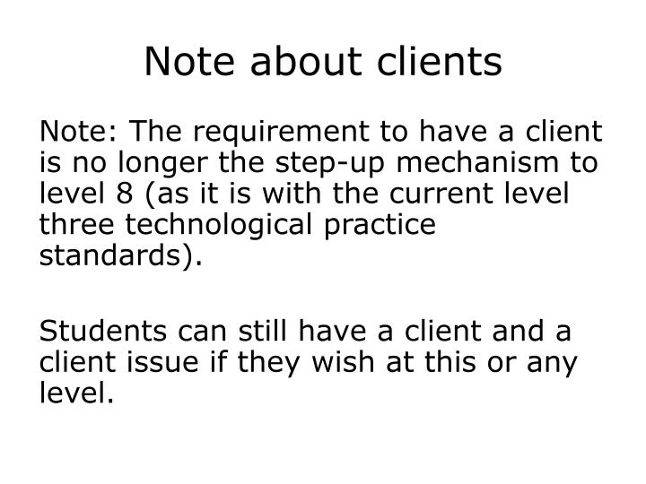 Note about clients