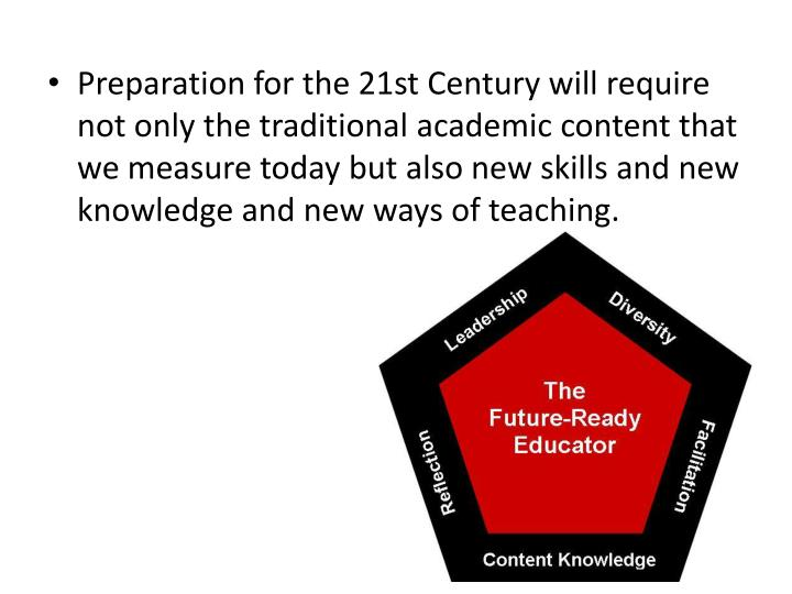 Preparation for the 21st Century will require not only the traditional academic content that we measure today but also new skills and new