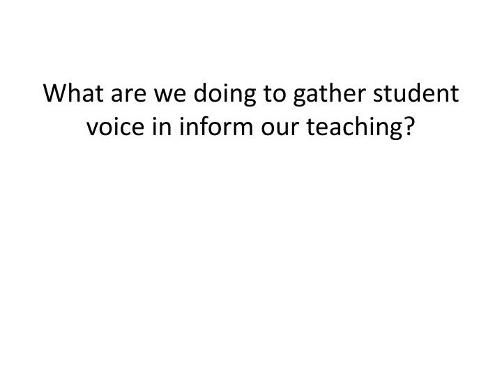 What are we doing to gather student voice in inform our teaching?