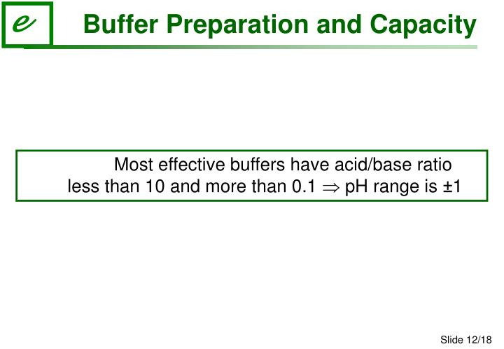 Buffer Preparation and Capacity
