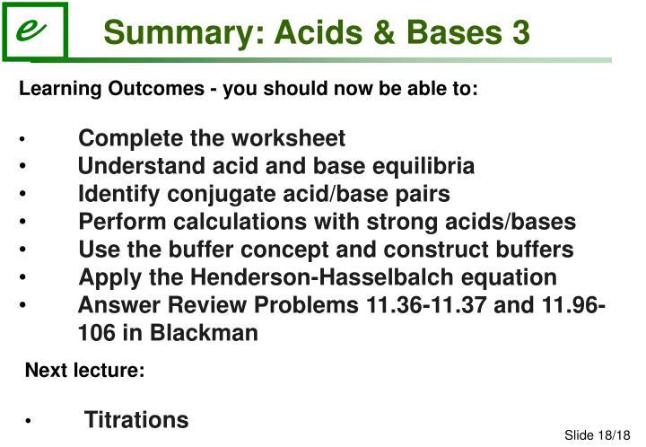 Summary: Acids & Bases 3