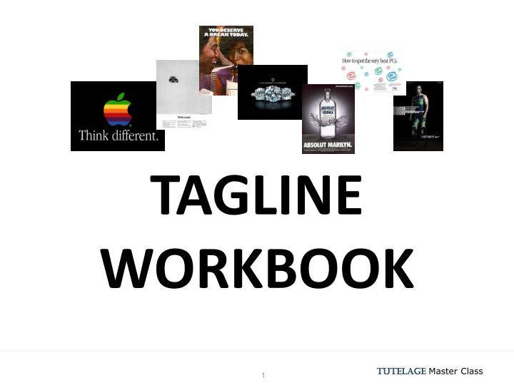 tagline workbook n.