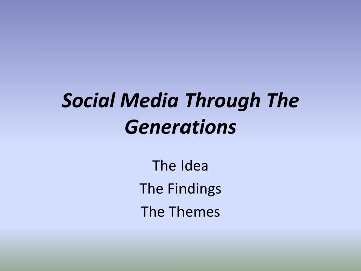 Social media through the generations