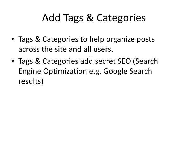 Add Tags & Categories