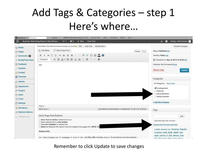 Add Tags & Categories – step 1