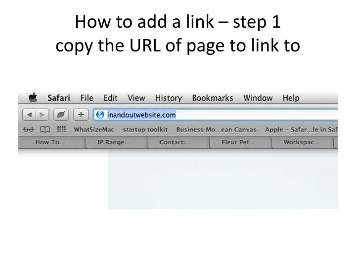 How to add a link – step 1