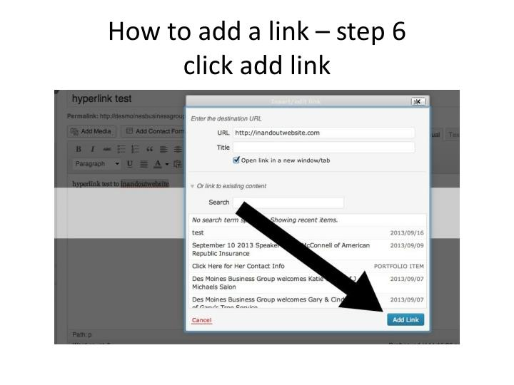 How to add a link – step 6