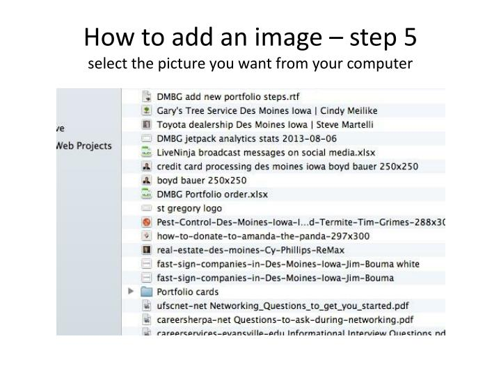 How to add an image – step 5