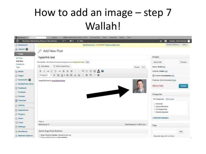 How to add an image – step 7