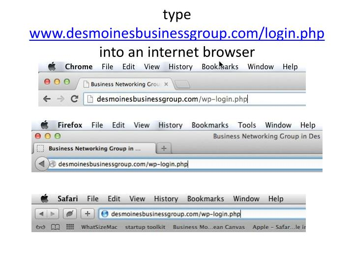 Type www desmoinesbusinessgroup com login php into an internet browser