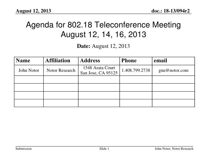 agenda for 802 18 teleconference meeting august 12 14 16 2013 n.