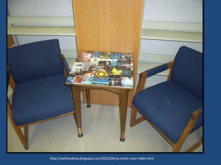http://wellreadinya.blogspot.com/2012/04/ya-book-cover-table.html