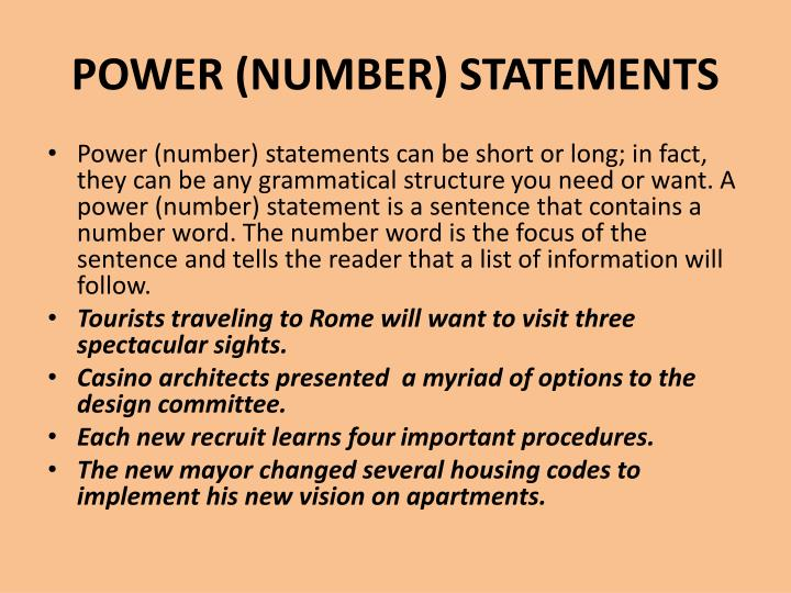 POWER (NUMBER) STATEMENTS