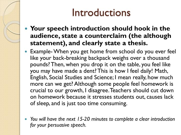 the persuasive speech The 6 elements of a persuasive speech speeches can be incredibly exhilarating, or mind numbingly boring the difference between the two lies in writing a captivating speech and presenting it in a powerful way.