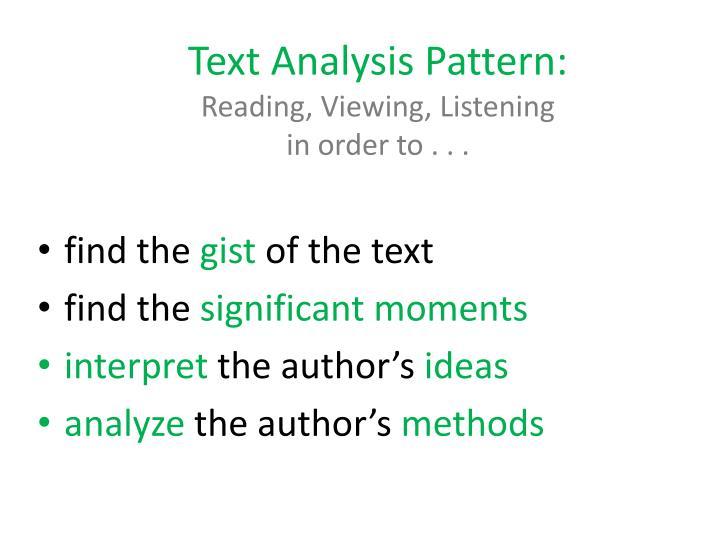 Text Analysis Pattern: