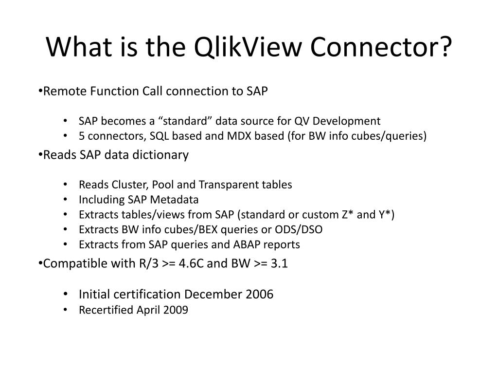 Ppt What Is The Qlikview Connector Powerpoint Presentation Id