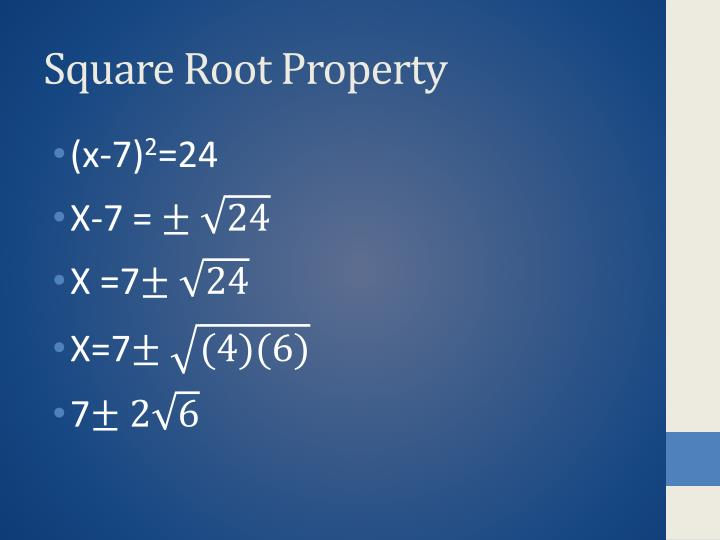 Square Root Property