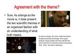 agreement with the theme