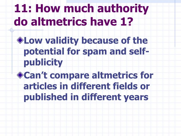 11: How much authority do altmetrics have 1?