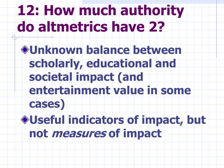 12: How much authority do altmetrics have 2?