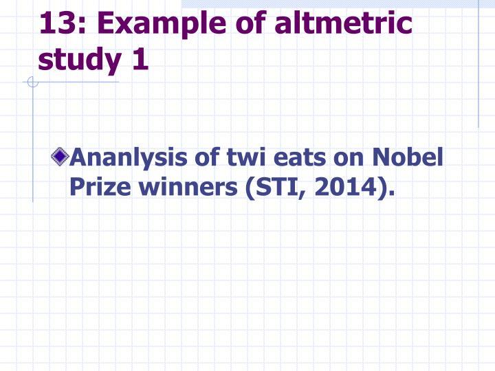 13: Example of altmetric study