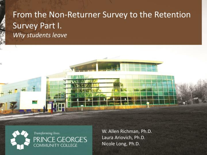 from the non returner survey to the retention survey part i