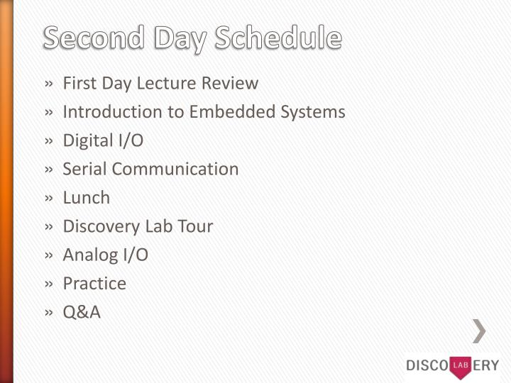 Second day schedule