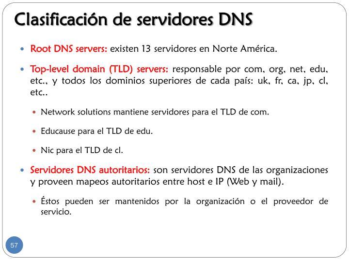 Clasificación de servidores DNS