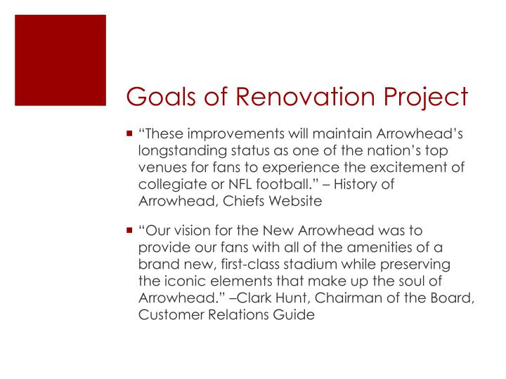 Goals of Renovation Project