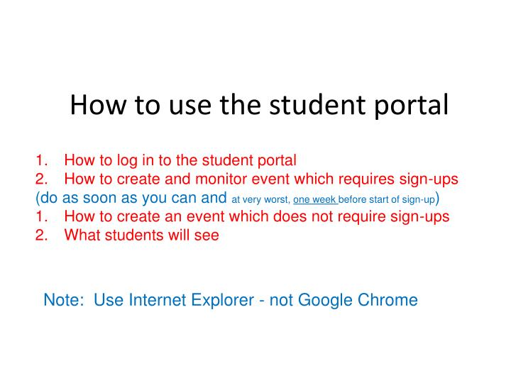 how to use the student portal n.