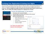 verifying user registration setting user rights