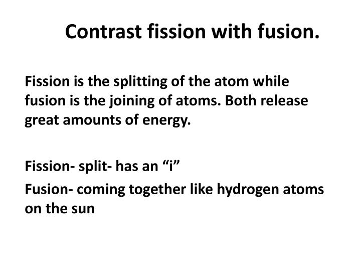 Contrast fission with fusion.
