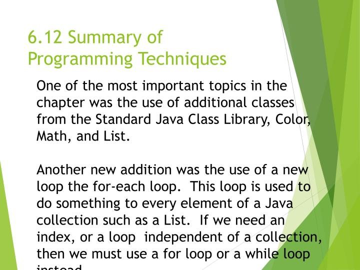 6.12 Summary of Programming Techniques