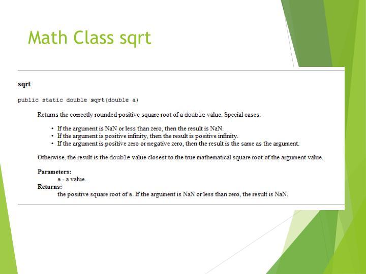 Math Class sqrt