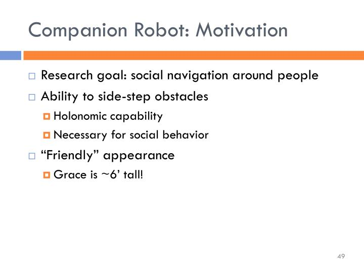 Companion Robot: Motivation