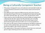 being a culturally competent teacher