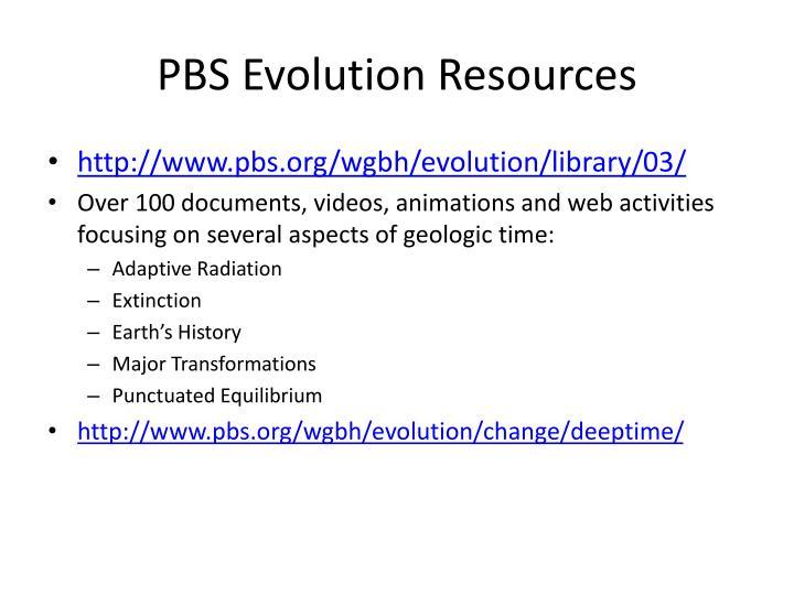 Pbs evolution resources