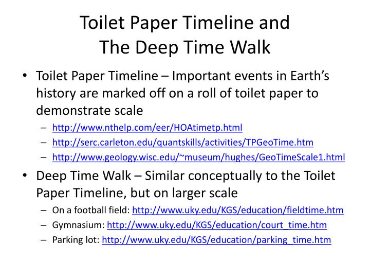 Toilet paper timeline and the deep time walk