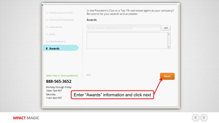 "Enter ""Awards"" information and click next"