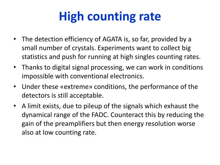 High counting rate
